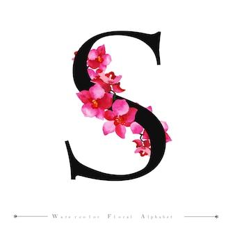 Alphabet letter s watercolor floral background
