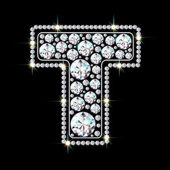 Алфавитная буква t из ярких сверкающих бриллиантов
