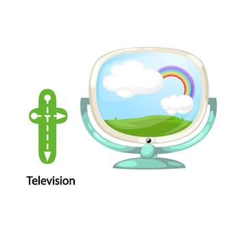孤立したイラストalphabet letter t-television