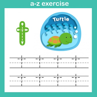 Alphabet letter t-turtle exercise,paper cut concept vector illustration