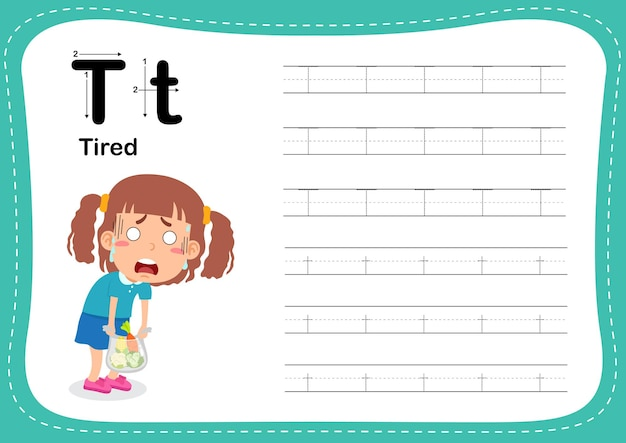 Alphabet letter tired exercise with girl vocabulary