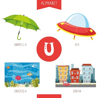 Alphabet letter u and pictures