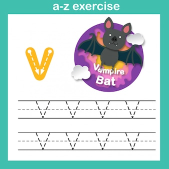 Alphabet letter v-vampire bat exercise,paper cut concept vector illustration
