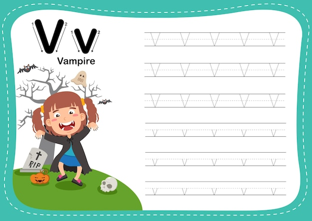 Alphabet letter vampire exercise with girl vocabulary