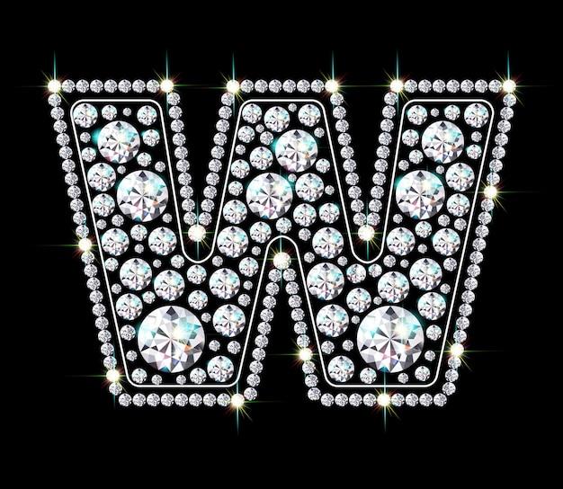 Алфавитная буква w из ярких сверкающих бриллиантов