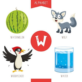 Alphabet letter w and pictures