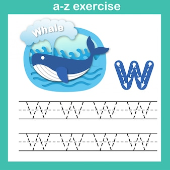 Alphabet letter w-whale exercise,paper cut concept vector illustration
