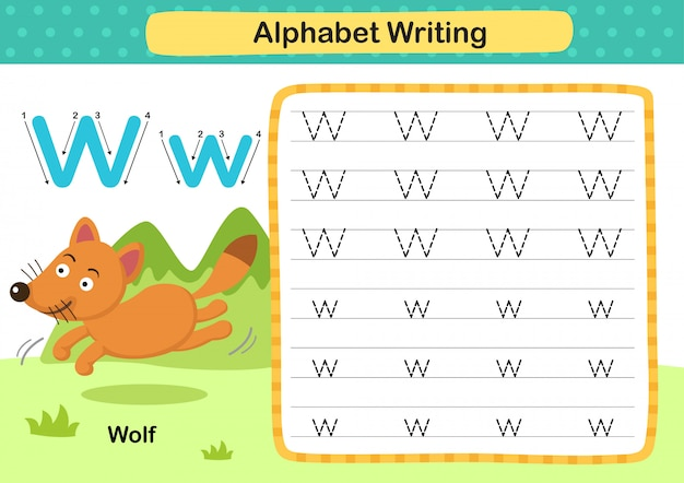 Alphabet letter w-wolf exercise with cartoon vocabulary illustration