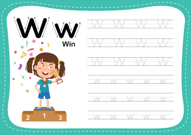 Alphabet letter win exercise with girl vocabulary