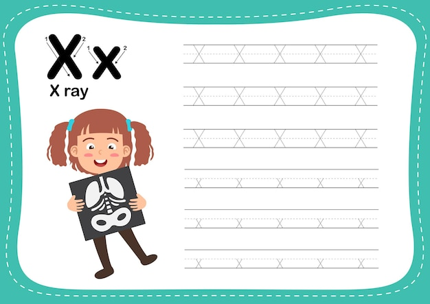 Alphabet letter x-ray exercise with girl vocabulary