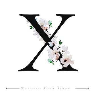 アルファベットの手紙x水彩の花の背景