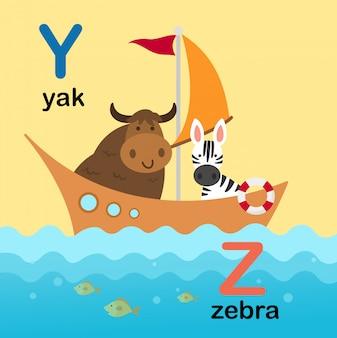 야크에 대한 알파벳 문자 y, 얼룩말에 대한 z, 일러스트레이션