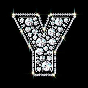 Алфавитная буква y из ярких сверкающих бриллиантов