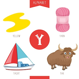 Alphabet letter y and pictures