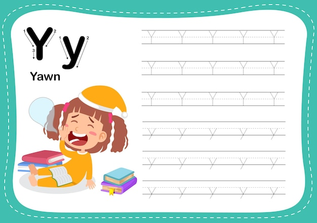Alphabet letter yawn exercise with girl vocabulary