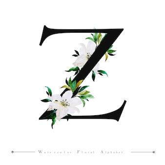 Alphabet letter z watercolor floral background