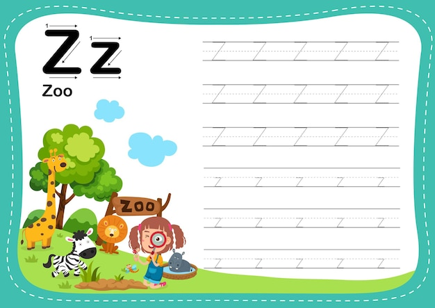 Alphabet letter zoo exercise with girl vocabulary