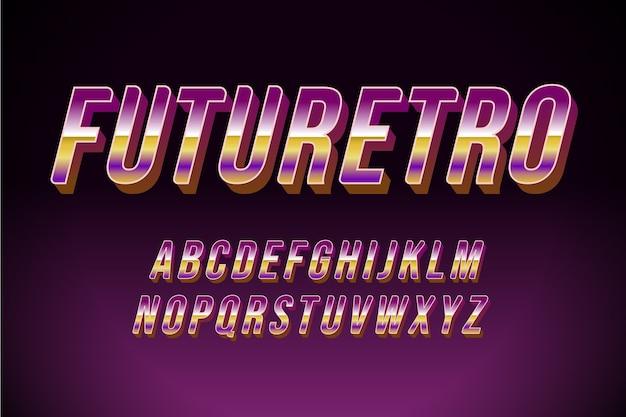 アルファベット文字と「未来のレトロ」の言葉3 dレトロな効果