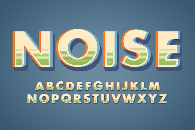 Буквы алфавита и слово «шум» в стиле ретро