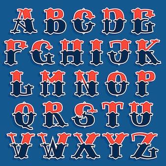 고전적인 스포츠 팀 스타일의 알파벳 문자입니다. 포스터, 스포츠웨어, 클럽 티셔츠, 배너 등을 위한 빈티지 벡터 글꼴입니다.