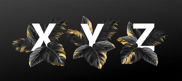 식물의 이국적인 열 대 잎으로 알파벳 문자.