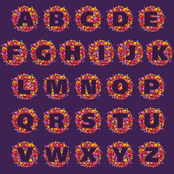 Alphabet letters logos in a circle of flames. fire font style