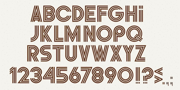 알파벳 문자, 숫자 및 문장 부호, 세련된 현대 글꼴. Abc 세트 프리미엄 벡터