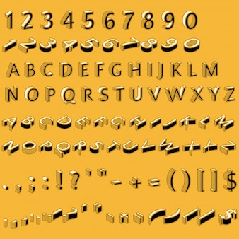 Alphabet letters, numbers and punctuation marks in retro style