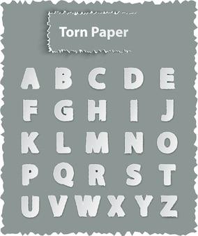 찢어진 된 종이에 알파벳 글자