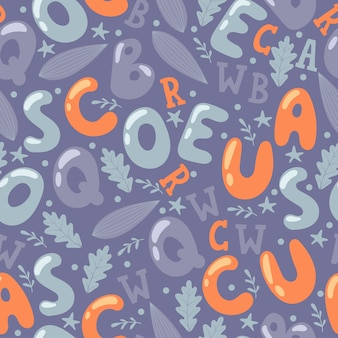 Alphabet letters in seamless pattern. wrapping paper or fabric print design, set of isolated letters and leaves