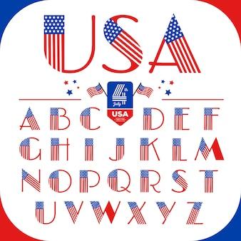 Буквы алфавита в стиле сша с американским флагом. счастливого 4 июля.