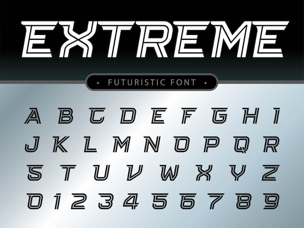 Alphabet letters set for technology