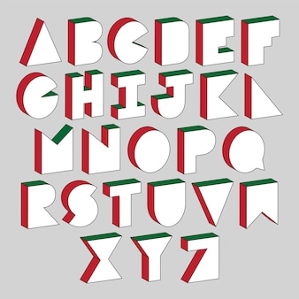 Alphabet letters with 3d isometric effect on gray background