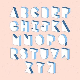 3 dの等尺性効果のアルファベット