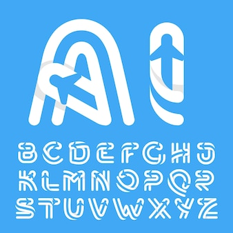 Alphabet letters with plane and airline inside. vector typeface for flight labels, travel headlines, delivery posters, aviation cards etc.