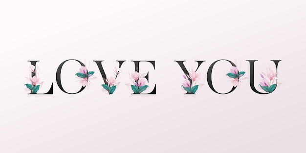 Alphabet letters with watercolor flowers on soft pink background. beautiful typography design