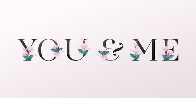 Alphabet letters with watercolor flowers on soft pink background