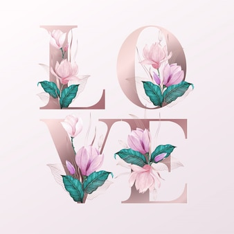 Alphabet letters with watercolor flowers