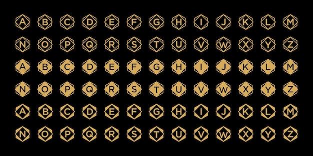 黄金色のアルファベットロゴコレクション