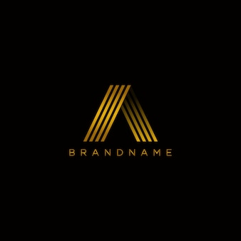 Alphabet logotype vector design with gold color