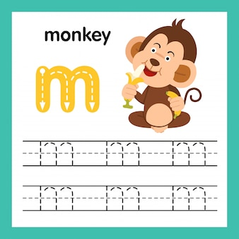 Alphabet m exercise with cartoon vocabulary illustration