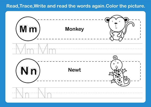Alphabet m-n exercise with cartoon vocabulary for coloring book illustration