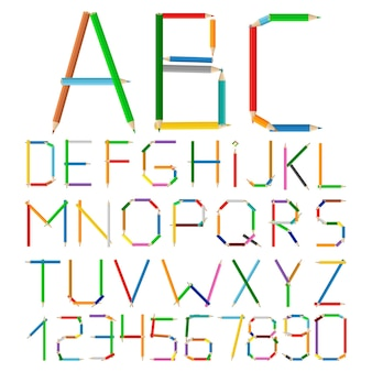 Alphabet made of colored pencils,  illustration