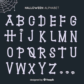 Alphabet made of bones