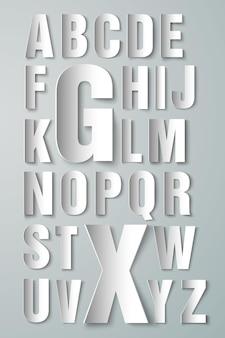 白地に紙で作ったアルファベット
