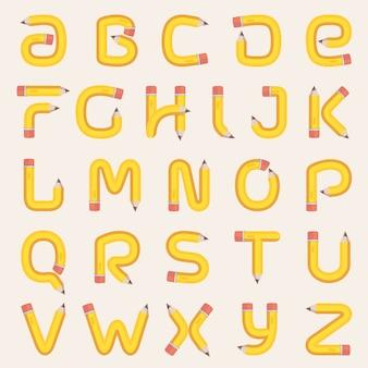 鉛筆で作られたアルファベット。