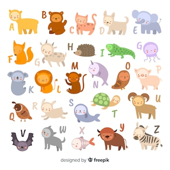 Alphabet made out letters and animals