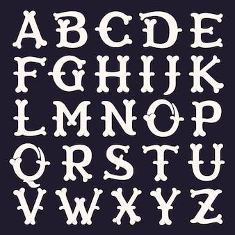 Алфавит из костей. шрифт