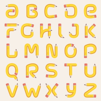Alphabet made of pencil.