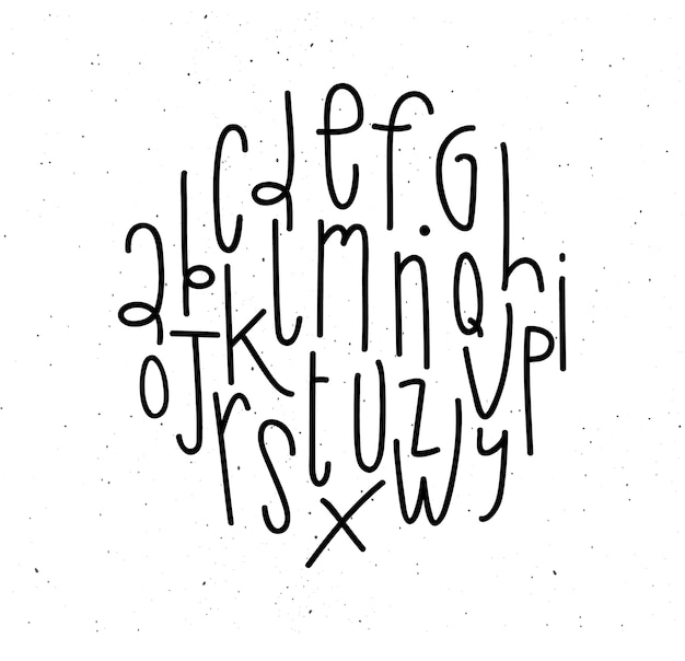 Alphabet in modern style drawing with coal on dirty white background